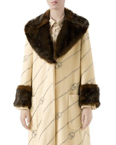Logo Jacquard Faux-Fur Trim Coat