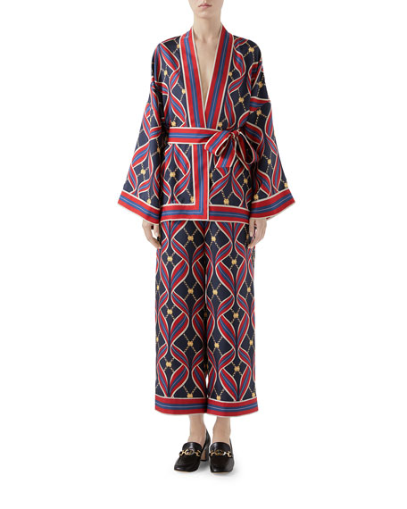 Gucci Interlocking G Ribbon-Print Kimono Top