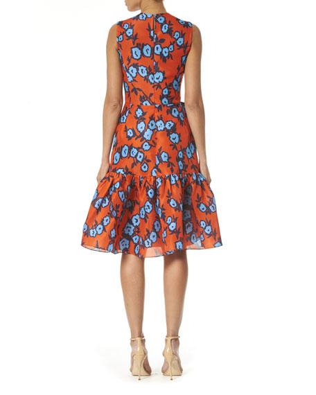 Carolina Herrera Floral Print Bowed-Waist Silk Dress