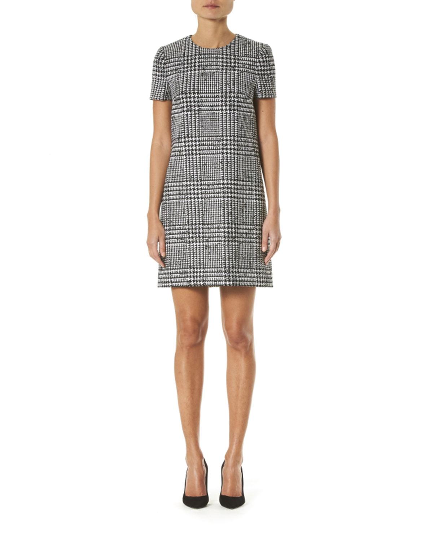 Carolina Herrera Dresses GLEN CHECK WOOL-SILK SHIFT DRESS