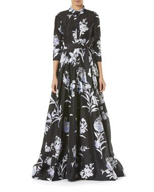 437d6cecf Carolina Herrera Floral-Print Taffeta Trench Gown. Favorite. Quick Look