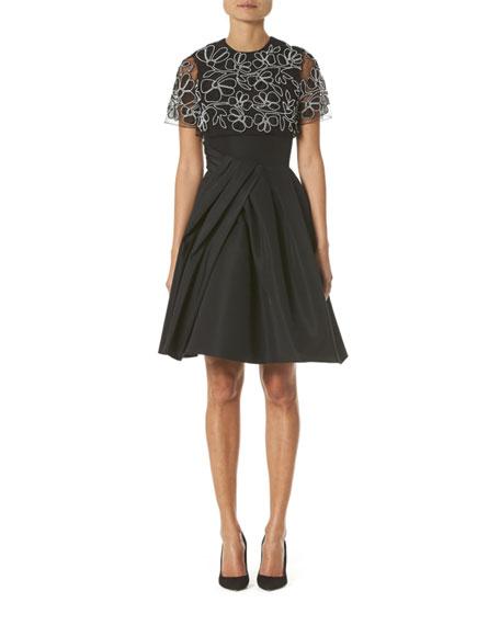 Carolina Herrera Embroidered Draped Capelet Dress