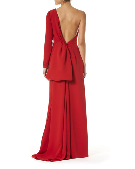 Carolina Herrera One-Shoulder Draped-Back Silk Gown