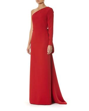 a141c60e7b8e1 Carolina Herrera One-Shoulder Draped-Back Silk Gown