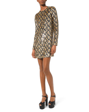 Michael Kors Collection Python Sequined Cocktail Dress