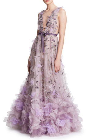 Marchesa Tulle Plunging V-Neck Gown