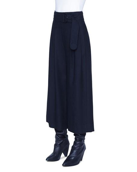 Akris punto Fiorella Wool Wide-Leg Belted Pants