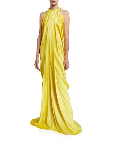 Satin-Draped Halter-Neck Gown