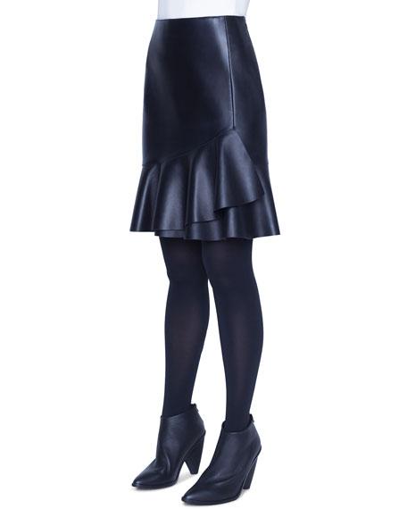 Akris punto Leather Ruffled Wrap Skirt