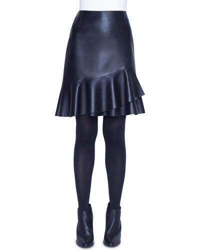Leather Ruffled Wrap Skirt