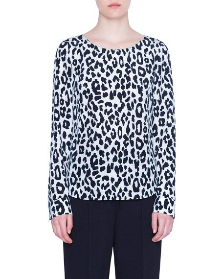 Akris punto Super Leopard-Print Silk Blouse