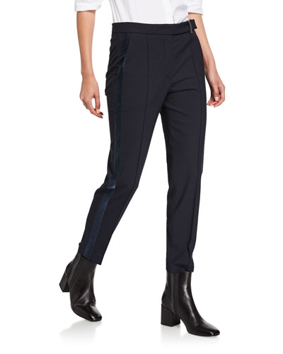 Satin Tuxedo-Striped Slim-Leg Pants