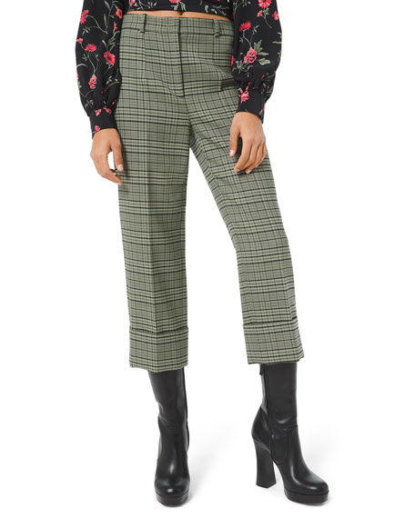 Michael Kors Collection Plaid Stretch-Wool Cropped Pants