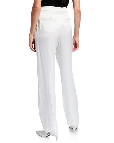 Brunello Cucinelli Pleated Silk Pants with Monili-Striped Belt