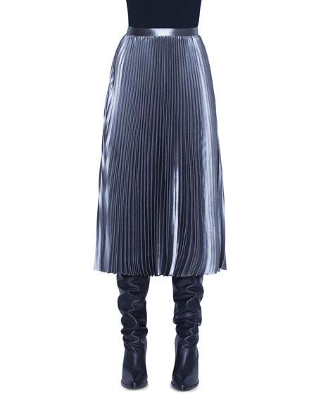 Akris punto Metallic Crepe Plisse Midi Skirt