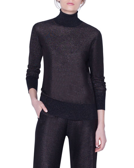 Akris Shimmer Silk Turtleneck Sweater