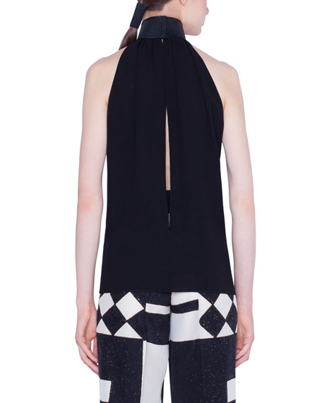 Akris Silk Halter Top with Horsehair Collar