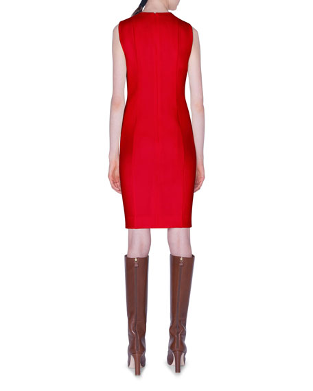 Akris Sleeveless V-Neck Wool-Crepe Dress