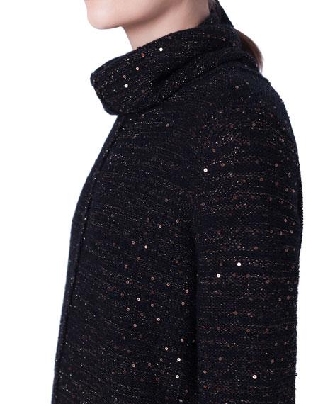 Akris Metallic Sequined Cowl-Neck Sweater