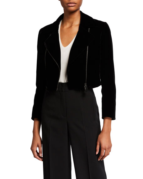 Akris Cropped Velvet Moto Jacket