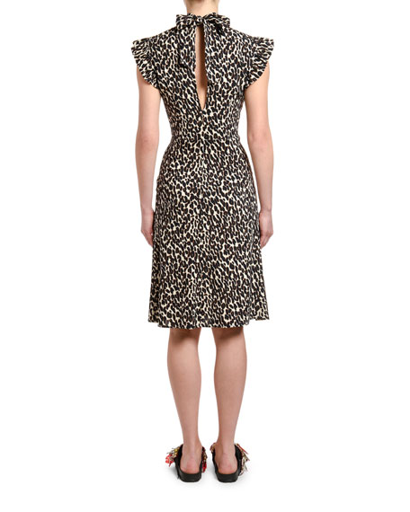 Double J Bon Ton Animal-Print Flutter-Sleeve Dress