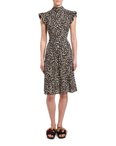 Bon Ton Animal-Print Flutter-Sleeve Dress