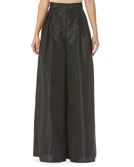 Carolina Herrera Taffeta High-Waist Wide-Leg Pants