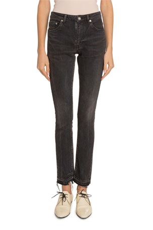 Saint Laurent Mid-Rise Raw-Hem Skinny Jeans