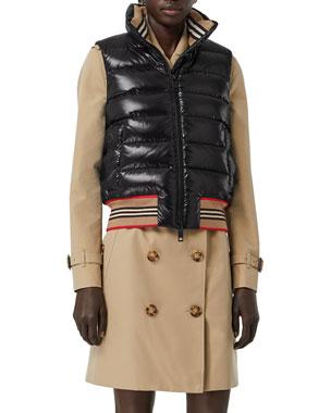 e112f1913b7 Burberry Icon Stripe-Detail Down Puffer Vest, Black