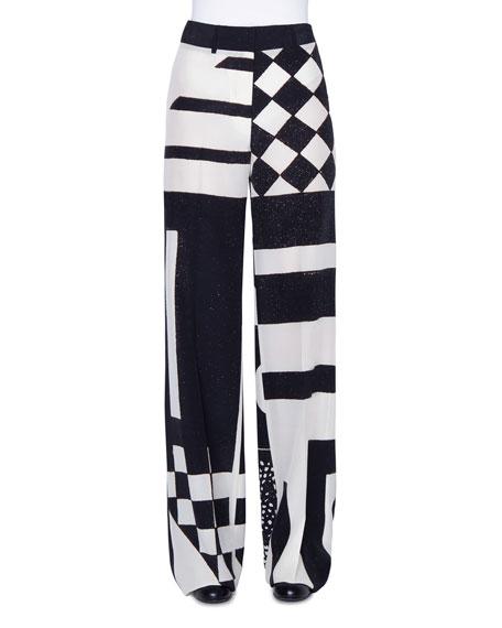 Akris Kaleidoscopic Silk Full-Leg Pants