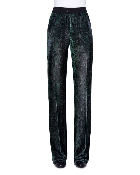 Akris Python-Print Velvet Straight-Leg Pants