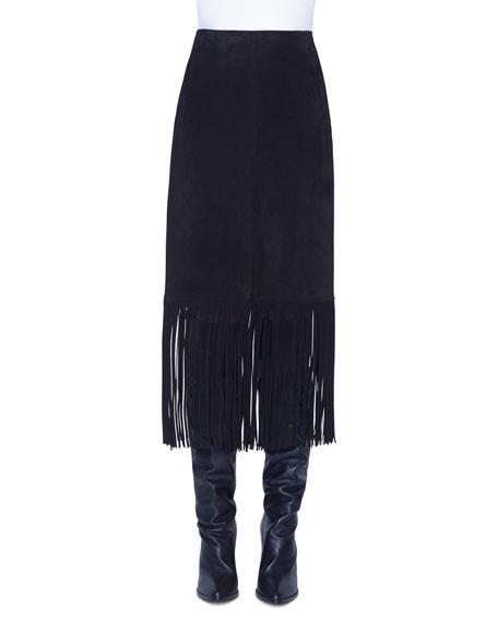 Akris punto Fring-Trim Suede Skirt