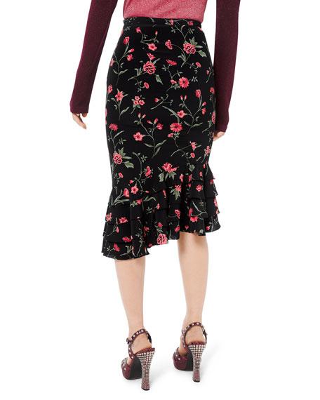 Michael Kors Collection Stemmed Floral Crepe de Chine Rumba Skirt