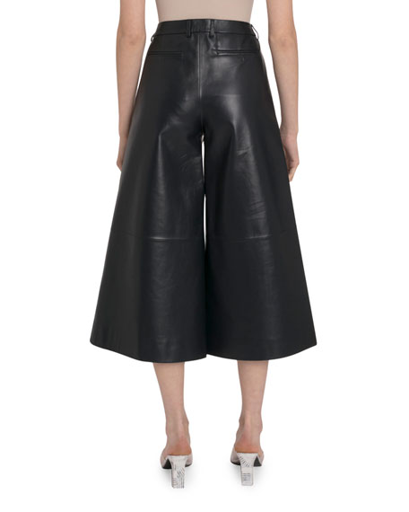 Rokh High-Rise Leather Culottes