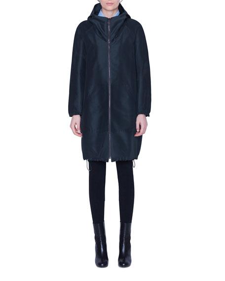 Akris Knee-Length Silk Parka Coat