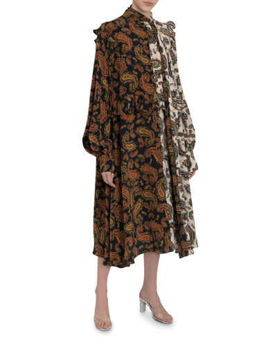 Frilly Two-Tone Paisley Scarf-Neck Dress
