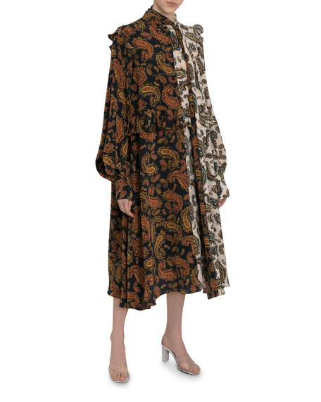 Rokh Frilly Two-Tone Paisley Scarf-Neck Dress