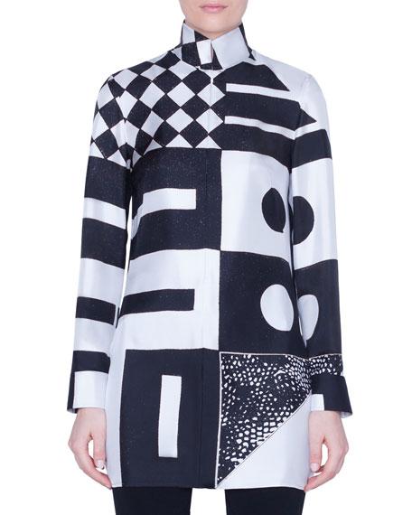 Akris Kaleidoscopic-Print Silk Funnel-Neck Tunic