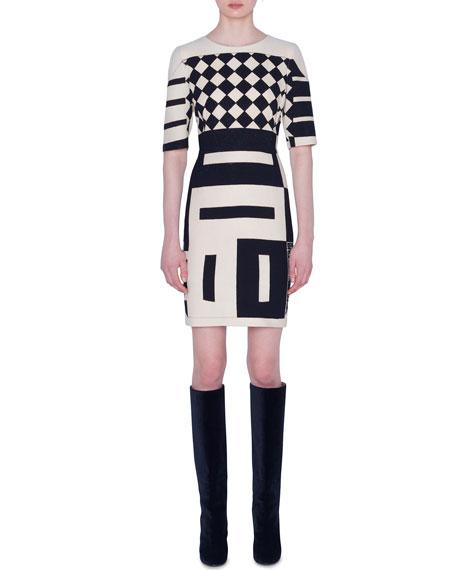 Akris 1/2-Sleeve Kaleidoscope Sheath Dress