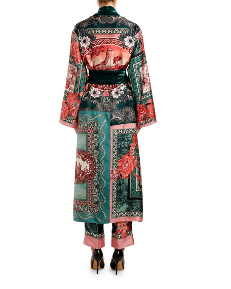 F.R.S For Restless Sleepers Rose-Print Silk Scarf Robe Coat