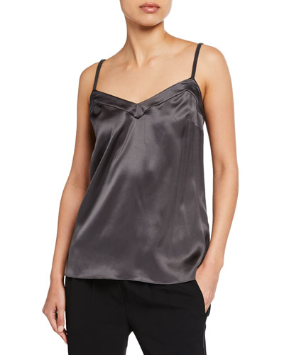 V-Neck Silk Cami with Monili Straps