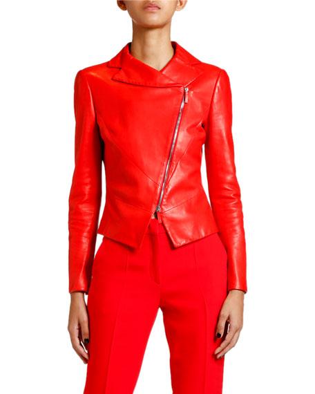 Giorgio Armani Leather Asymmetric-Zip Skirt