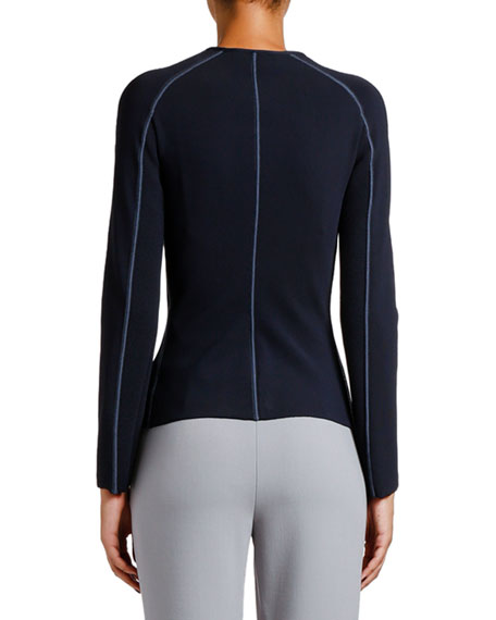 Image 2 of 2: Giorgio Armani Ottoman Ribbed Zip-Front Jacket