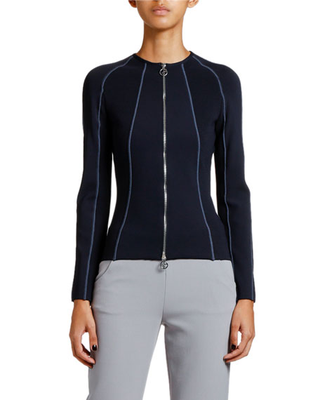 Image 1 of 2: Giorgio Armani Ottoman Ribbed Zip-Front Jacket