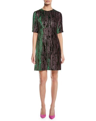 Short-Sleeve Glitter-Velvet A-Line Dress