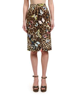 a9689fadb5 Dolce & Gabbana Leopard & Butterfly Tubino Pencil Skirt