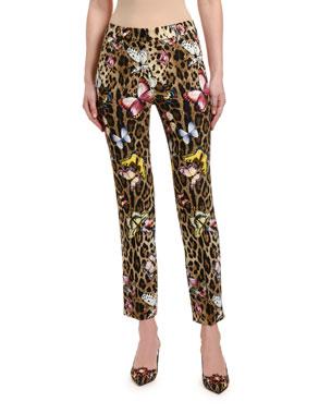 1346bf03 Dolce & Gabbana Bianca Leopard & Butterfly-Print Cady Pants
