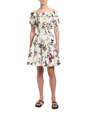 f4ee83228d72 Dolce & Gabbana Off-the-Shoulder Butterfly-Print Poplin Dress