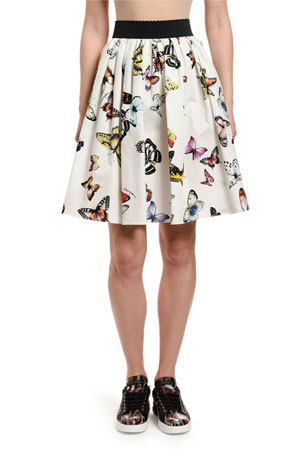 Dolce & Gabbana Butterfly-Print Cotton Poplin Full Skirt