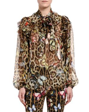 a2b53eff Dolce & Gabbana Leopard Butterfly-Print Chiffon Tie-Neck Blouse